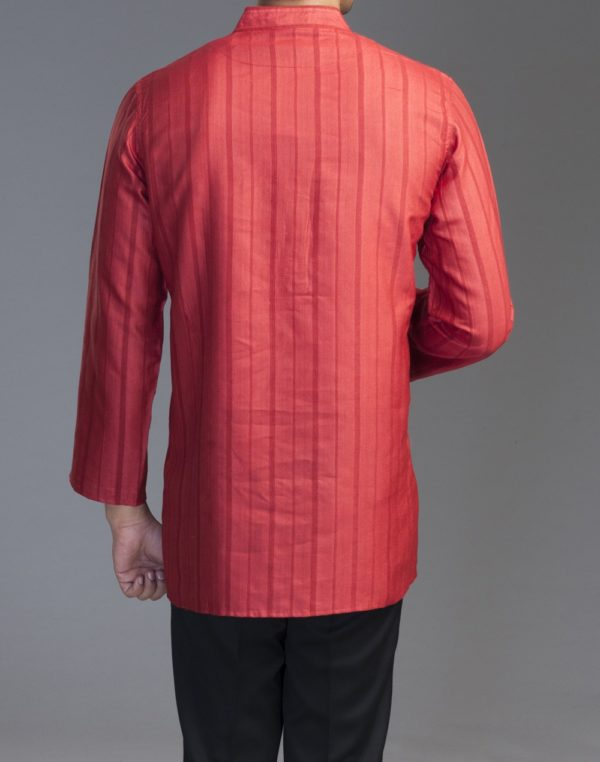 20151123-fabindia-tussar-cotton-dobby-short-kurta-d-red