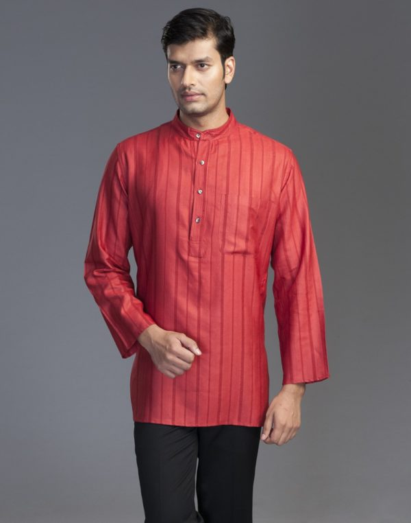 20151123-fabindia-tussar-cotton-dobby-short-kurta-f-red