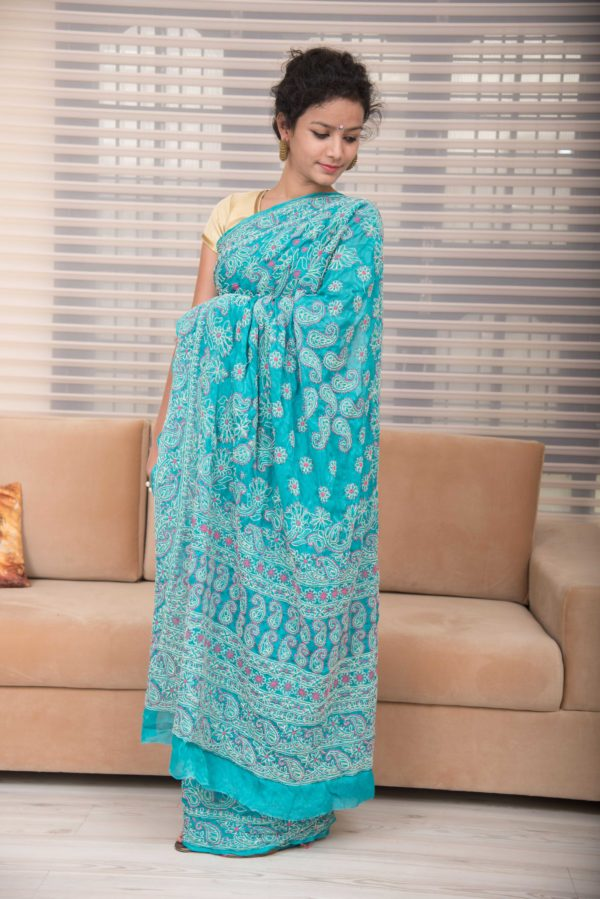 Blue chikankari saree