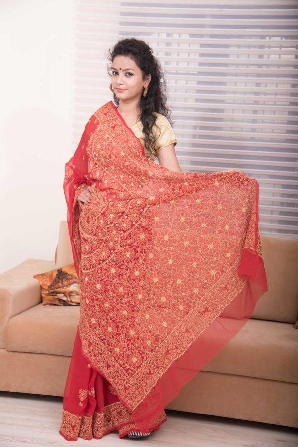 Red chikankari sarees