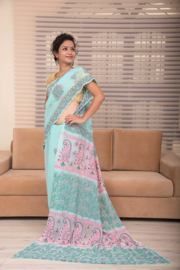 chikankari saree blue